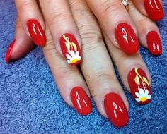 Red Daisy's by aliciarock - Nail Art Gallery nailartgallery.nailsmag.com by Nails Magazine www.nailsmag.com #nailart