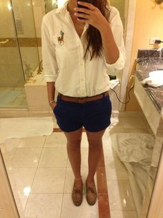 Keep it classy. | Shorts, button-up, Sperry's.