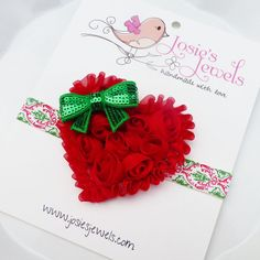 Red  Green CHRISTMAS HOLIDAY Shabby Heart of Roses Infant Toddler Girls Headband --- Want to shop? Visit my boutique at http://josiesjewels2011.etsy.com!