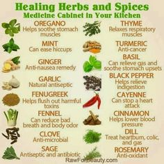 HERBOLOGY: Healing Herbs and Spices chart for a simple medicine cabinet in your kitchen. Good for botany/herbalism/Herbology. Natural Health Remedies, Natural Cures, Natural Healing, Herbal Remedies, Natural Treatments, Natural Foods, Holistic Remedies, Natural Beauty, Holistic Healing