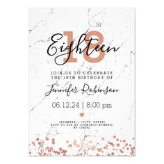 """debut ideas Elegant & simple Birthday Party"""" invitation design with Rose Gold Marble motif, and custom name and details text. Invitation Card Birthday, Invitation Card Design, Zazzle Invitations, Invitation Cards, Debut Invitation 18th, Vintage Birthday Invitations, Online Birthday Invitations, Wedding Invitations, Shower Invitations"""