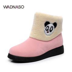 Sale 23% (27.37$) - WADNASO Winter New Women Keep Warm Plush Cattoon Cartoon Panda Fashion Ankle Short Snow Boots
