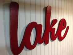 Lake Sign Red Blue Antiqued Wall Lakehouse Decoration by WoodOhio