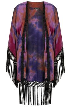 I should make one for less than 120 dollars ~ Tie Dye Tassle Kimono (viscose) by TOPSHOP