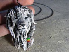 Rasta Lion pendant. Exclusive and unique pendant - Gray Rasta Lion