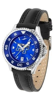 Middle Tennessee State Ladies Leather Wristwatch by SunTime. $78.95. Water Resistant. Women. Poly/Leather Band. Officially Licensed Middle Tennessee State Blue Raiders Ladies Leather Wristwatch. Adjustable Band. Middle Tennessee State Ladies Leather Wristwatch with AnoChrome face. The Blue Raiders wrist watch has functional rotating bezel color-coordinated with team logo. A durable, long-lasting combination nylon/leather strap, together with a date calendar make this the ul...