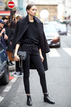 karien anne - street style - Paris Haute Couture, all black by Alexandra Agoston