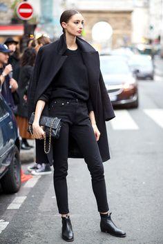 karien anne - street style - Paris Haute Couture, all black by Alexandra Agoston