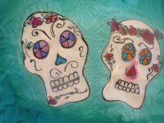 Handpainted Silk Scarf  with Sugar Skulls by The by thesilkmaid, $40.00