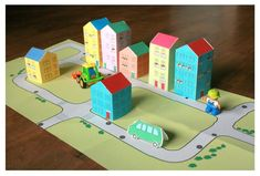 reminds me of that board game with streets and cars and trains Projects For Kids, Diy For Kids, Crafts For Kids, Toddler Crafts, Preschool Crafts, Paper Toys, Paper Crafts, Foam Crafts, Paper Art