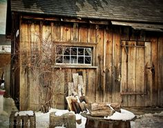 rustic shed barn in winter