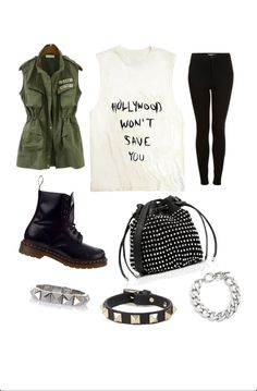 Grunge. Edgy. Hollywood Won't Save You. Boots. Tights. Studs. Cute.