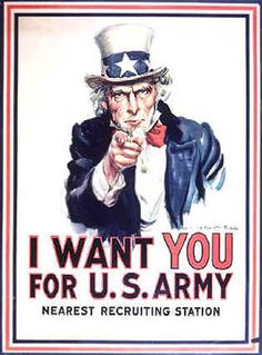 WWI Posters: (Uncle Sam) I Want You for U.S. Army. Nearest Recruting Station.