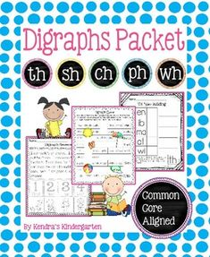 "Digraph PacketThese worksheets, games, books, and activities will teach the th, sh, ch, ph, and wh digraphs. Most pages require no prep (only the ""Go Fish"" game needs prep). All are engaging for students and make learning to read and spell long a words fun."