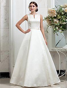 A-line High Neck Sweep/Brush Train Satin Wedding Dress (6311... – GBP £ 125.27
