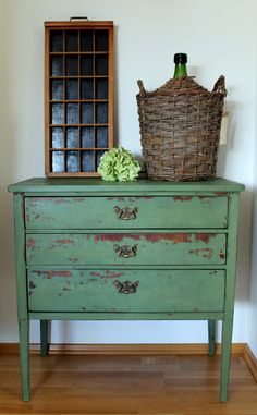 Antique dresser in Miss Mustard Seed's Milk Paint in Boxwood and furniture wax. Made by Me & Harmony, www. Upcycled Furniture, Shabby Chic Furniture, Furniture Projects, Rustic Furniture, Furniture Makeover, Diy Furniture, Green Distressed Furniture, Primitive Furniture, Modern Furniture