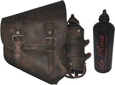 La Rosa Harley-Davidson Softail Chopper Rustic Brown Leather Right Saddle Bag with Extra Fuel Gas Bottle This is the La Rosa rustic brown leather right saddle Motorcycle Saddlebags, Harley Softail, Fuel Gas, Bike Stuff, Bottle Holders, Buckets, Chopper, Saddle Bags, Harley Davidson