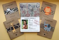 Safari Passport Party Invitations Set of 12 by lnorris21 on Etsy