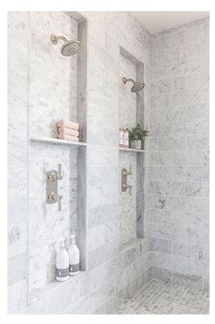 Bad Inspiration, Bathroom Inspiration, Bathroom Ideas, Bathroom Organization, Bathroom Showers, Bathroom Storage, Bathroom Cabinets, Marble Showers, Bathroom Designs