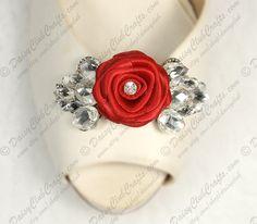 Red Ribbon Rose Thinestone Shoe Clip
