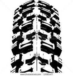 Mountain bike`s offroad tire`s footprint. Vector image. - stock vector