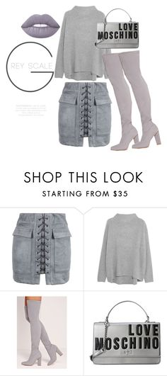 """""""50 Shades of Grey"""" by li-janee on Polyvore featuring WithChic, Vince, Missguided, Love Moschino and Lime Crime"""
