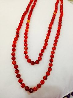 Nemesis hand knoted vintage Carnillian beaded necklace by NemesisNYC on Etsy