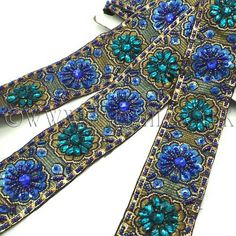 BLUE TURQUOISE RHINESTONE BEADED TRIM - sarahi.co.uk