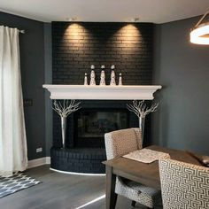 Top 50 Best Painted Fireplace Ideas - Interior Designs Black Brick Fireplace, Country Fireplace, Painted Brick Fireplaces, Black Brick Wall, Paint Fireplace, Small Fireplace, Home Fireplace, Fireplace Remodel, Fireplace Design