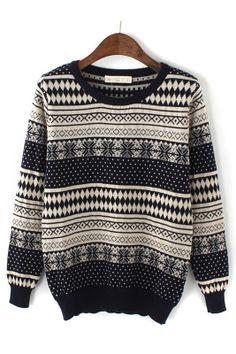 Vintage Snowflower Geometric Pattern Pullover Sweater