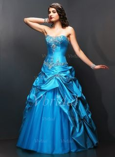 Quinceanera Dresses - $196.99 - Ball-Gown Sweetheart Floor-Length Taffeta Tulle Quinceanera Dress With Embroidered Ruffle Beading (02105024375)