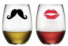 How cute are these stemless wine glasses?  These His and Hers glasses are perfect for wine, juice, tea or a cocktail!  kiss and Mustache Stemless Wine Glasses ~ Set of 2
