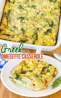 Low Carb Greek Omele Low Carb Greek Omelette Casserole - A fluffy breakfast omelet recipe loaded with the bold flavors of sun dried tomatoes feta cheese spinach garlic and herbs. Medeteranian Recipes, Greek Recipes, Brunch Recipes, Vegetarian Recipes, Cooking Recipes, Healthy Recipes, Quiche Recipes, Asian Recipes, Healthy Eats