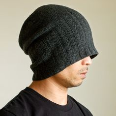 grid junky | shear series (hand knit mens hat with angular ribbing transitions)