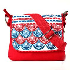 Pick Pocket circle printed and embroidered flap red canvas sling bag - http://weddingcollections.co.in/product/pick-pocket-circle-printed-and-embroidered-flap-red-canvas-sling-bag/