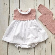 This Pin was discovered by flo Knitting For Kids, Baby Knitting Patterns, Baby Outfits, Kids Outfits, Knit Baby Dress, Hippie Baby, Baby Sewing, Crochet Baby, Doll Clothes