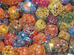 Sequin boxes in the Grand Bazaar in Istanbul.