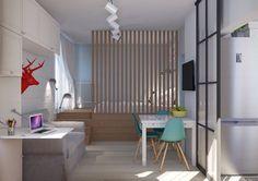 Даже крошечную однушку можно сделать удобной для жизни: дизайнер увеличила площадь санузла, обустроила комфортную гостиную и нашла неожиданное место для хранения лыж и сноубордов – в подиуме кровати