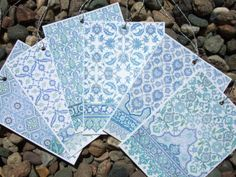 Moorish Tile Pattern Tags in Soft Blue Chambray by paperwords11, $10.00
