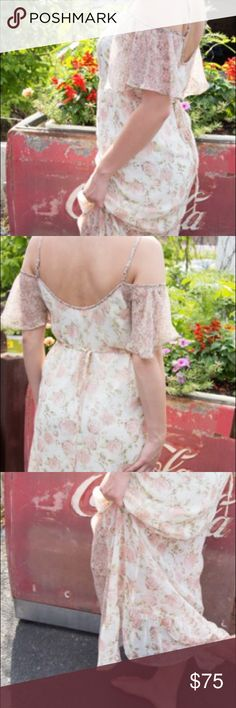 Band of Gypsies boho chic cream floral dress Band of Gypsies very romantic floral pink dress with beautiful detail. Size large with delicate straps and ties in the back. A flirty piece to add to any wardrobe. Band of Gypsies Dresses