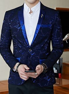Mens Blazer Shinny Contrast Collar Slim Fit Suit for Party Prom Dinner - Men Blazers - Ideas of Men Blazers Royal Blue Suit, Blue Suit Men, Navy Suits, Groom Suits, Prom Blazers, Blazers For Men, Blazer Outfits Fall, Prom Suits For Men, Designer Suits For Men