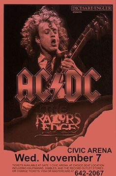 AC/DC Razor's Edge Tour, 1990 Retro Art Print - Poster Size - Print of Retro Concert Poster - Features Brian Johnson, Angus Young, Malcolm Young, Cliff Williams, Chris Slade.