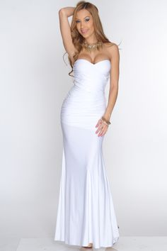 White Strapless Ruched Detail Sexy Maxi Dress