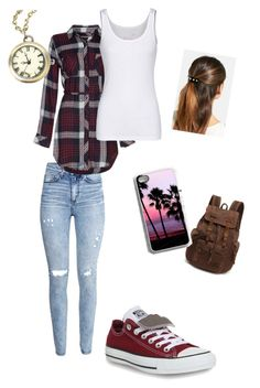 """""""Chill Day"""" by ghettogirl19 ❤ liked on Polyvore featuring H&M, Rails, Juvia, Converse and L. Erickson"""