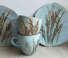 "Ceramics And Pottery Tea pair ""motley grass"".Ceramics And Pottery -Tea pair ""motley grass"".Ceramics And Pottery - Slab Pottery, Ceramic Pottery, Ceramic Plates, Ceramic Art, Clay Crafts, Arts And Crafts, Felt Crafts, Pottery Classes, Pottery Designs"