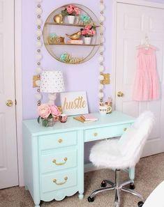 New House: Girls Bedroom Ideas Bedroom Decoration kids bedroom decor Girls Bedroom, Bedroom Desk, Trendy Bedroom, Bedroom Furniture, Painted Furniture, Furniture Ideas, Bed Room, Furniture Layout, Bedroom Decor Kids
