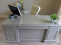 The office desk makeover is officially complete! Well, almost officially – I still need new hardware for the drawers. I can't believe how this much more substantial desk can really change the whole look of the room – it really helps to fill and define the space! For those that didn't read the prior post …