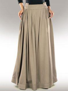 22f56c22a54ec Adilah Rayon Khaki Skirt AS 014 Formal Casual Long Skirt Also Plus Sizes