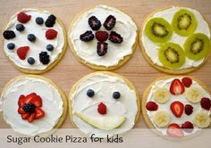Cooking with Kids: How to Make Sugar Cookie Pizzas from Scratch - Weelicious Sugar Cookie Pizza, Roll Out Sugar Cookies, Sugar Cookie Dough, Pizza Cookies, Healthy Recipes, Fruit Recipes, Healthy Kids, Healthy Snacks, Kid Recipes