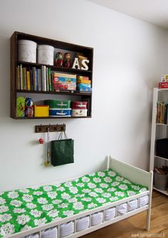 kids room//shelf above the bed..